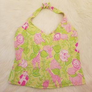 Lilly Pulitzer Pink Green Halter Tankini Swim Top